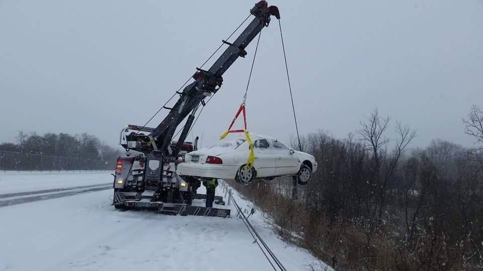Car Over Guard Rail 2015